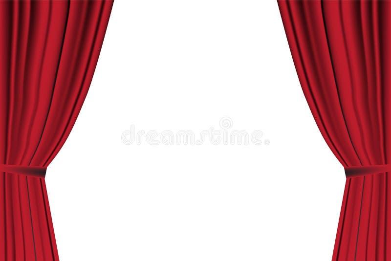 Cortina roja abierta en el fondo blanco libre illustration