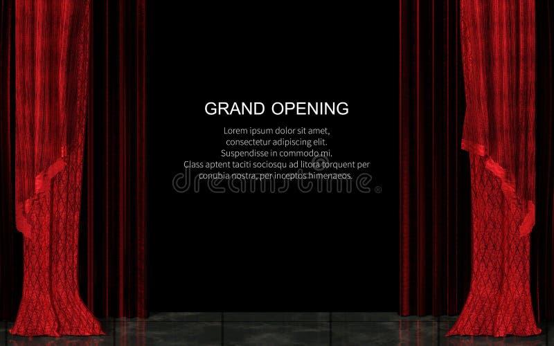 Cortina roja cerrada de la etapa realista Concepto de la gran inauguración stock de ilustración