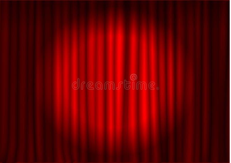 Cortina roja con el proyector en teatro Vector de la cortina del cine de la tela del terciopelo Proyector en corto cerrado ilustración del vector