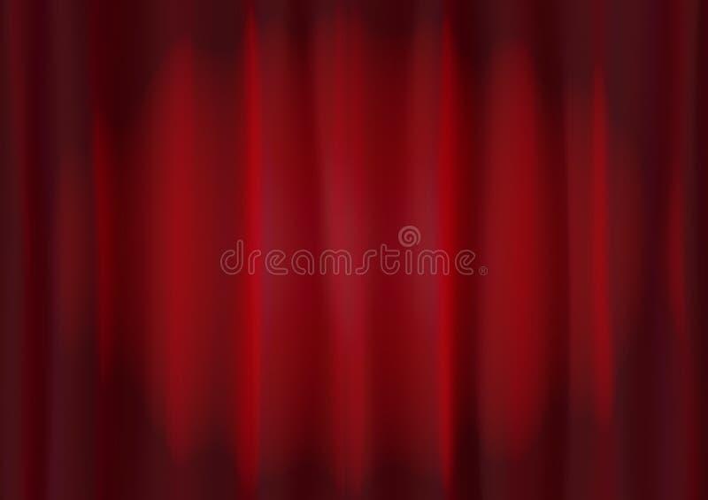 Cortina roja de la etapa del terciopelo con la iluminación del punto ilustración del vector