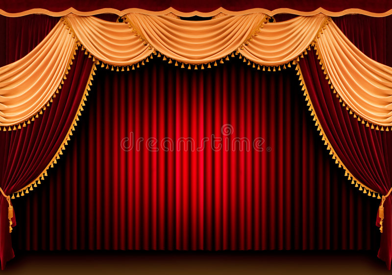 Cortina roja del teatro ilustración del vector