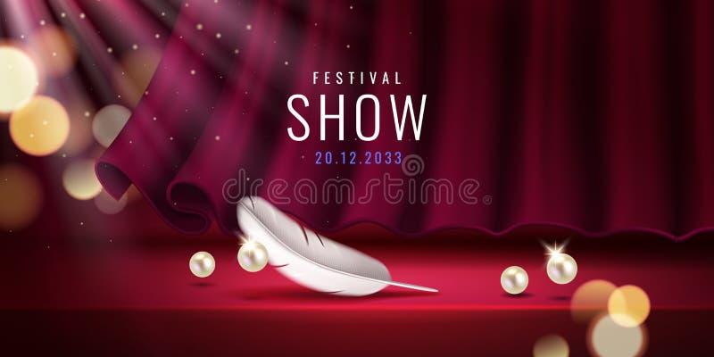 Cortina roja en el pasillo del teatro para la muestra de la demostración stock de ilustración