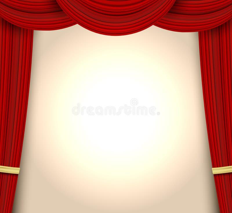 Cortina roja realista para el escenario teatral o ópera, gran estreno de conciertos o estreno de cine Cortinas o portiere ilustración del vector