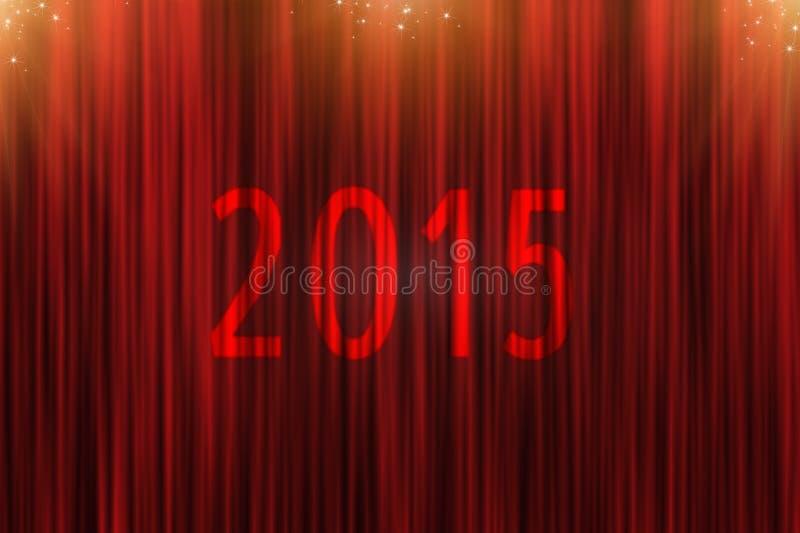 Cortina roja y delantero de estrellas de oro a 2015 ilustración del vector