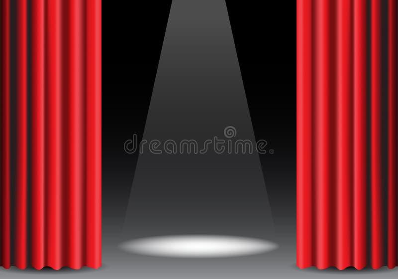 Cortina vermelha aberta no preto com vetor da mostra da fase de projeto da luz do ponto ilustração stock