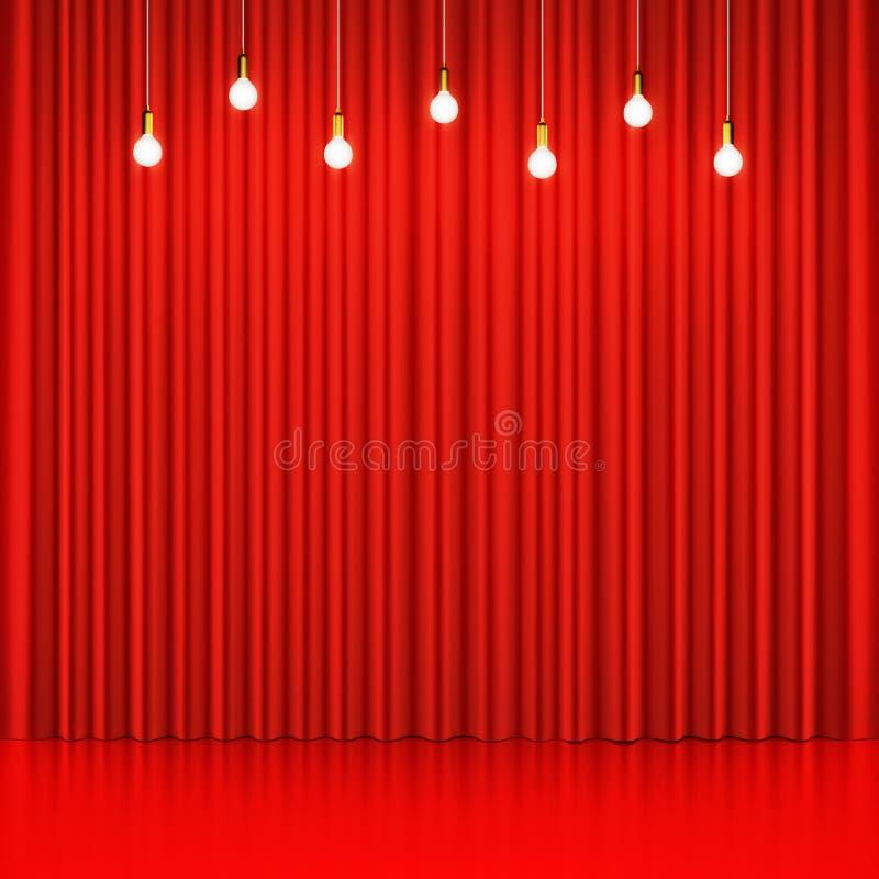 Cortina vermelha com as ampolas de incandescência e o assoalho lustroso ilustração stock