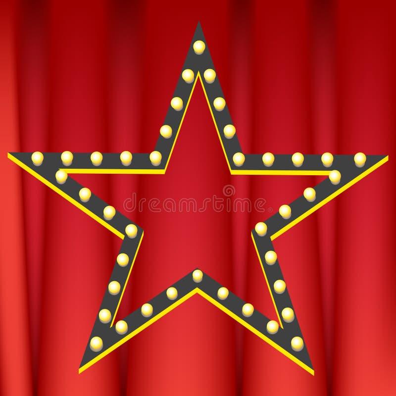 Cortina vermelha com estrela ilustração royalty free