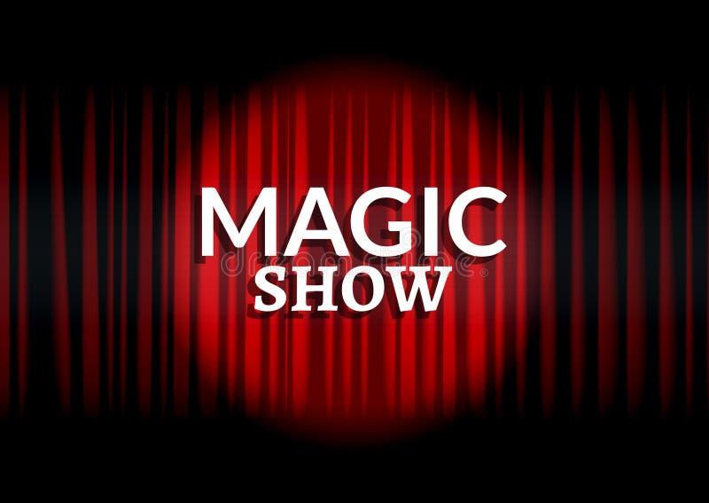 Cortina vermelha com luz do círculo Projeto mágico do molde do cartaz do conceito da mostra ilustração royalty free