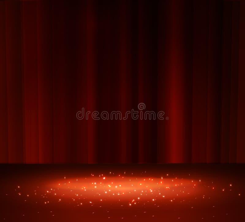 Cortina vermelha com um projetor ilustração stock