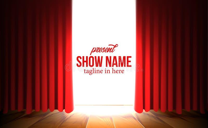 Cortina vermelha de abertura luxuosa com mostra do molde do projetor ilustração royalty free