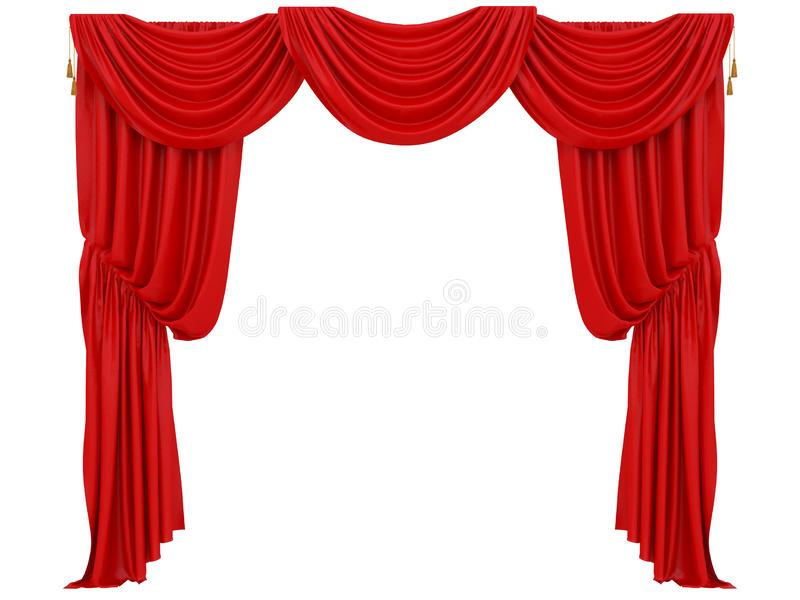 Cortina vermelha de um teatro ilustração royalty free