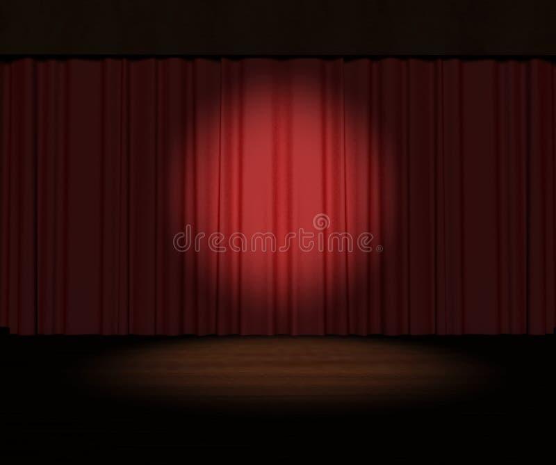 Cortina vermelha do estágio com o projector no estágio ilustração royalty free