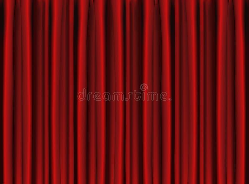 A cortina vermelha do estágio drapeja ilustração royalty free