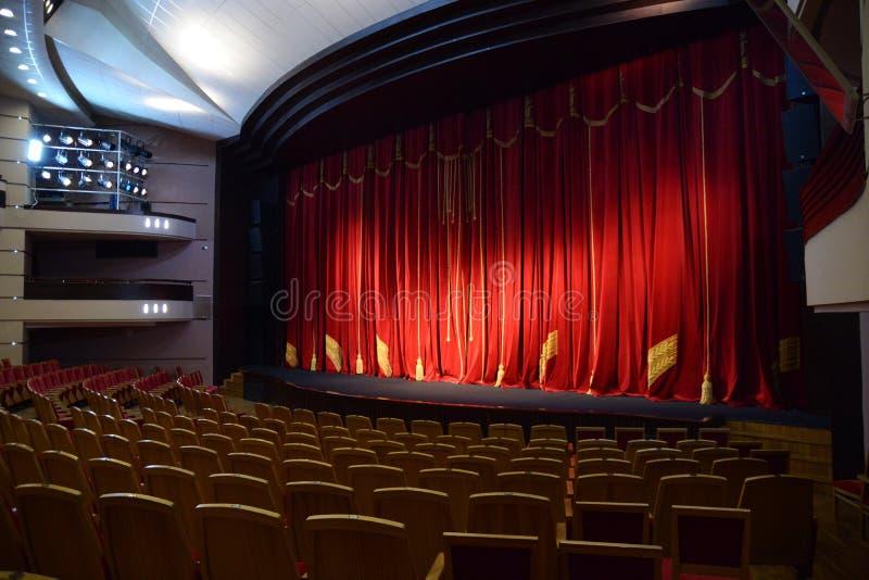 Cortina vermelha do teatro fotos de stock royalty free