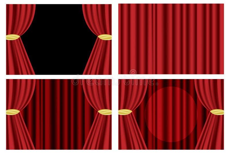 Cortina vermelha do teatro ilustração stock