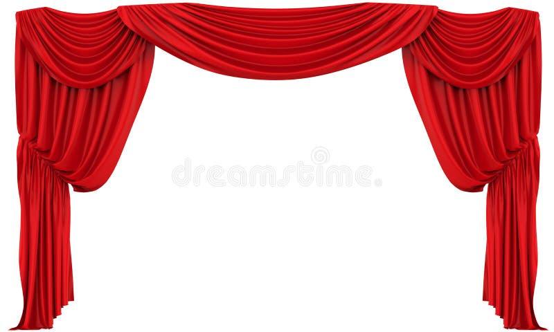 A cortina vermelha do teatro isolou-se ilustração royalty free