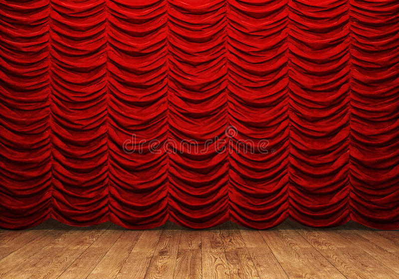 Cortina vermelha e assoalho de madeira ilustração do vetor