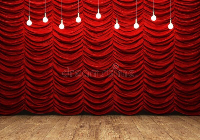 Cortina vermelha e assoalho de madeira com as ampolas retros ilustração royalty free
