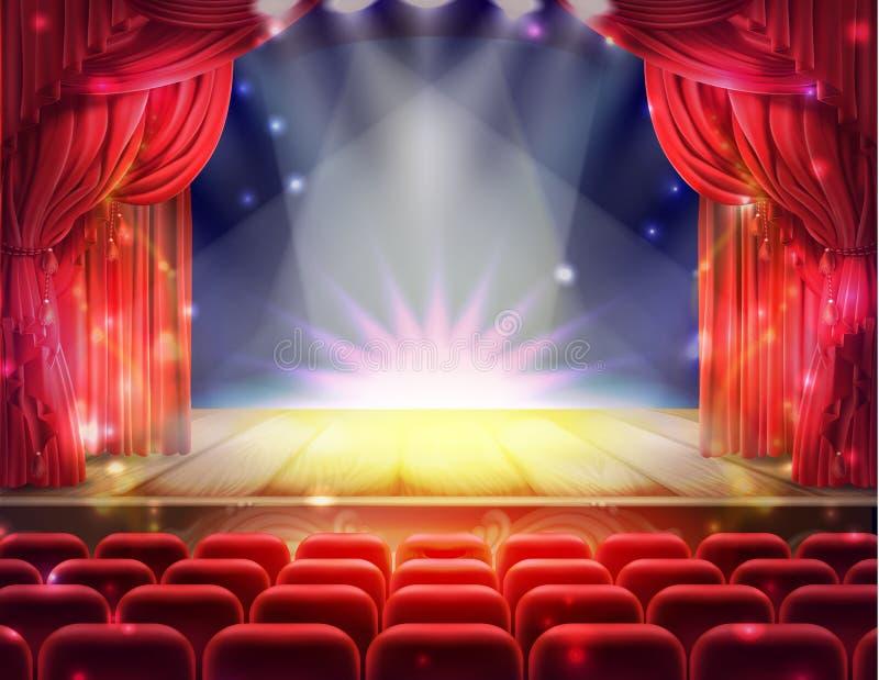 Cortina vermelha e cena teatral vazia ilustração stock