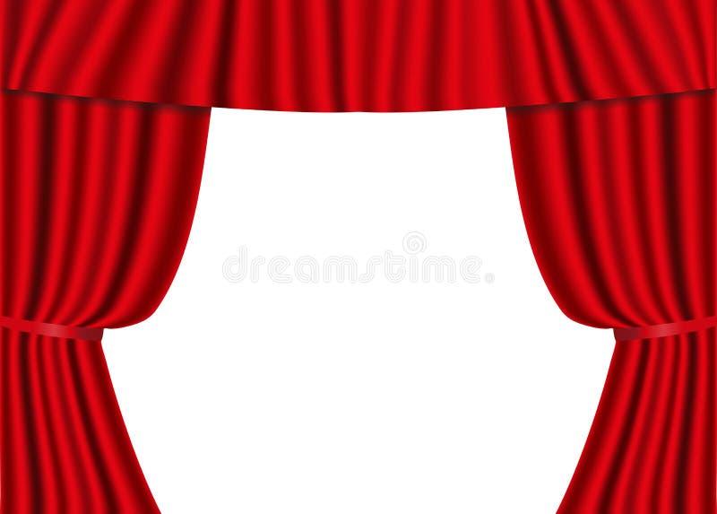 Cortinas abiertas del rojo aisladas en un fondo blanco Seda roja del escarlata de lujo, terciopelo Illustrat del vector libre illustration