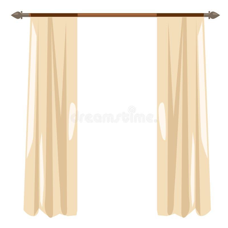 download cortinas beige de la cocina en la repisa decoracin del vector ilustracin del vector - Cortinas Beige