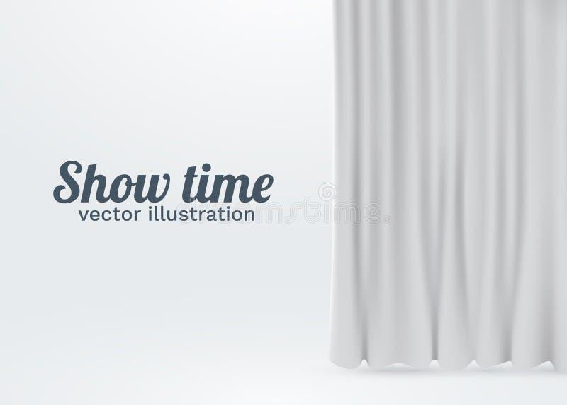 Cortinas blancas del terciopelo aisladas en el fondo blanco Concepto de la etapa de la demostración stock de ilustración
