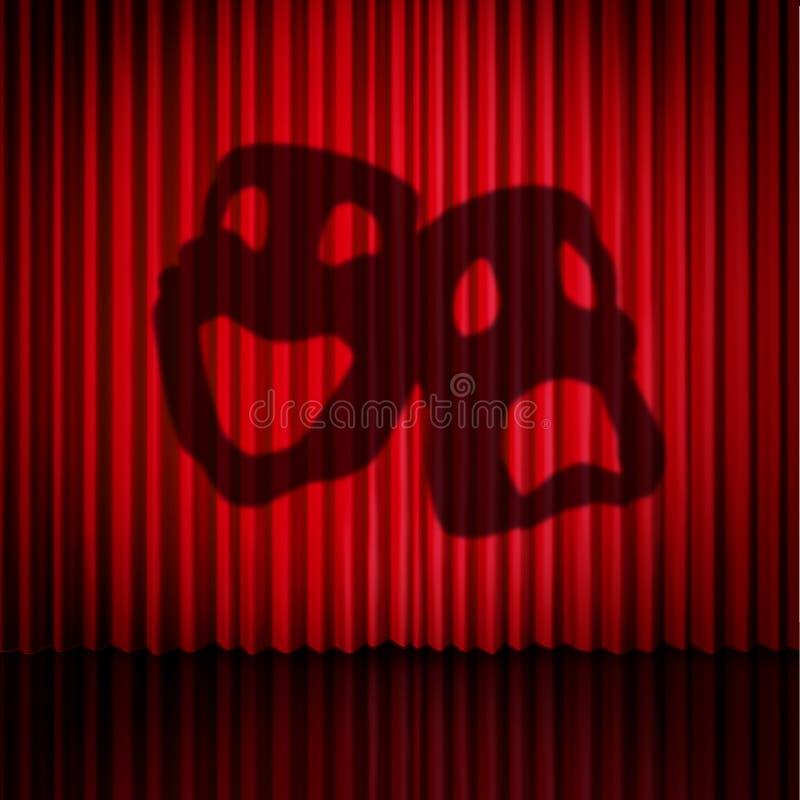 Cortinas da máscara do teatro ilustração do vetor