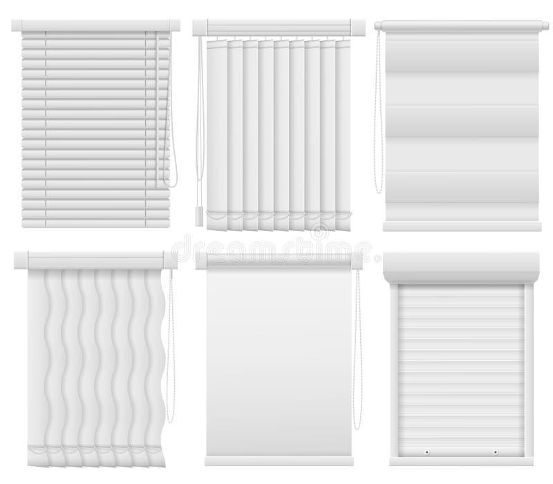 Cortinas de janela Jalousie fechado e aberto horizontal, vertical Cortinas cegas de escurecimento, elementos interiores da sala d ilustração royalty free