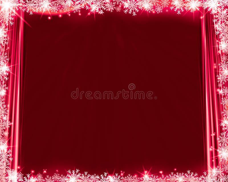 Cortinas de seda, copos de nieve y el brillar del fondo rojo abstracto de la Navidad ilustración del vector