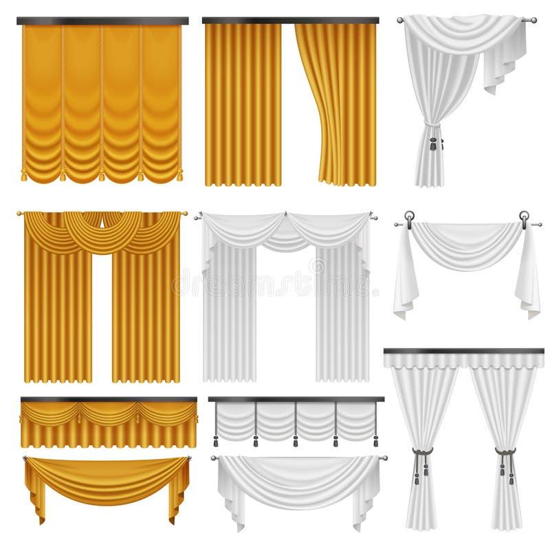 Cortinas de seda y pañerías del terciopelo de oro y blanco fijadas Diseño de lujo realista interior de la decoración de las corti libre illustration