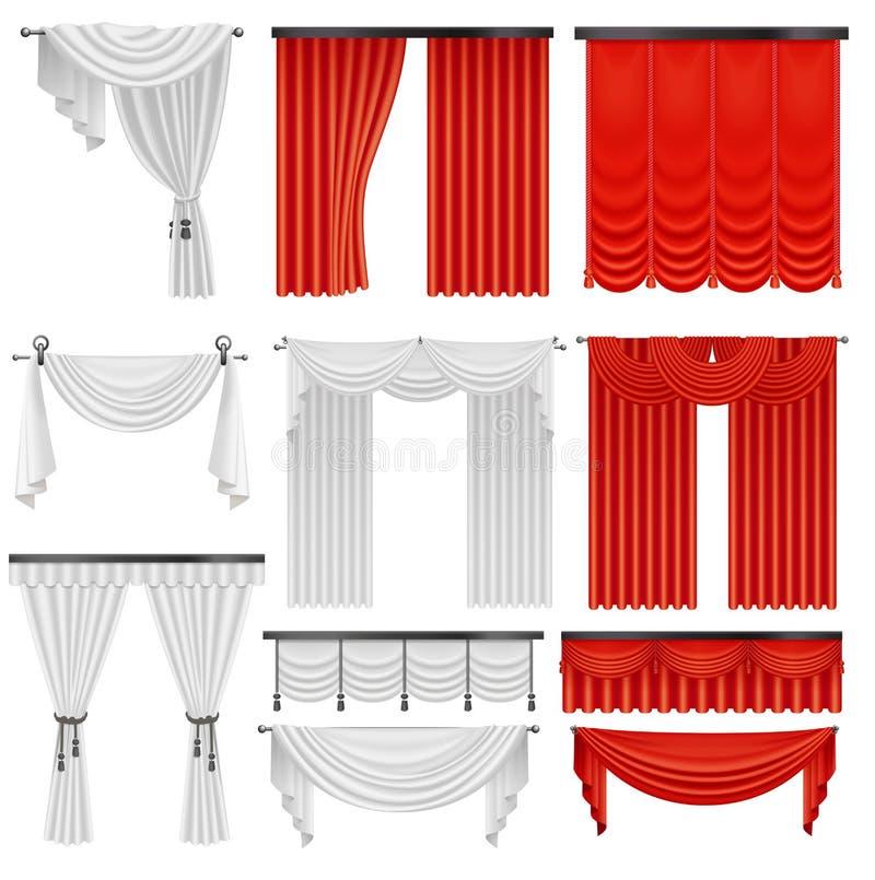 Cortinas de seda y pañerías del terciopelo rojo y blanco fijadas Diseño de lujo realista interior de la decoración de las cortina ilustración del vector
