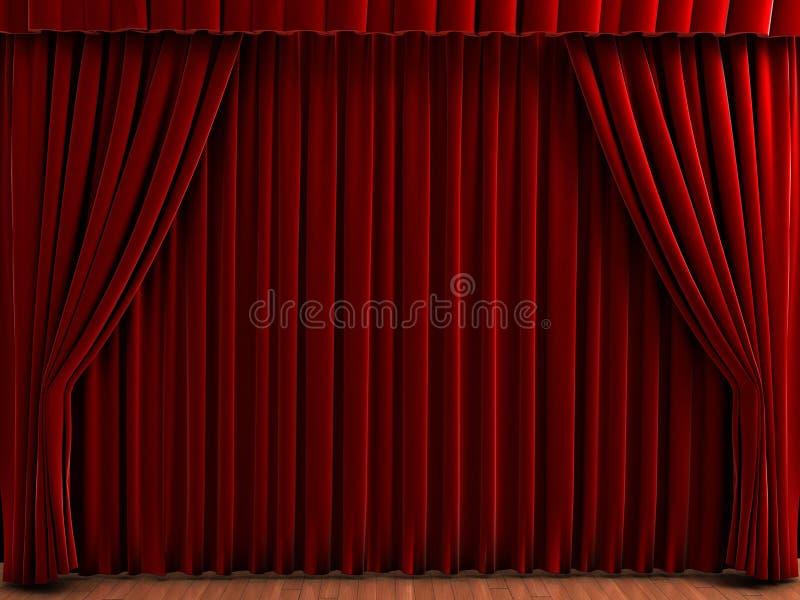 Cortinas del teatro stock de ilustración