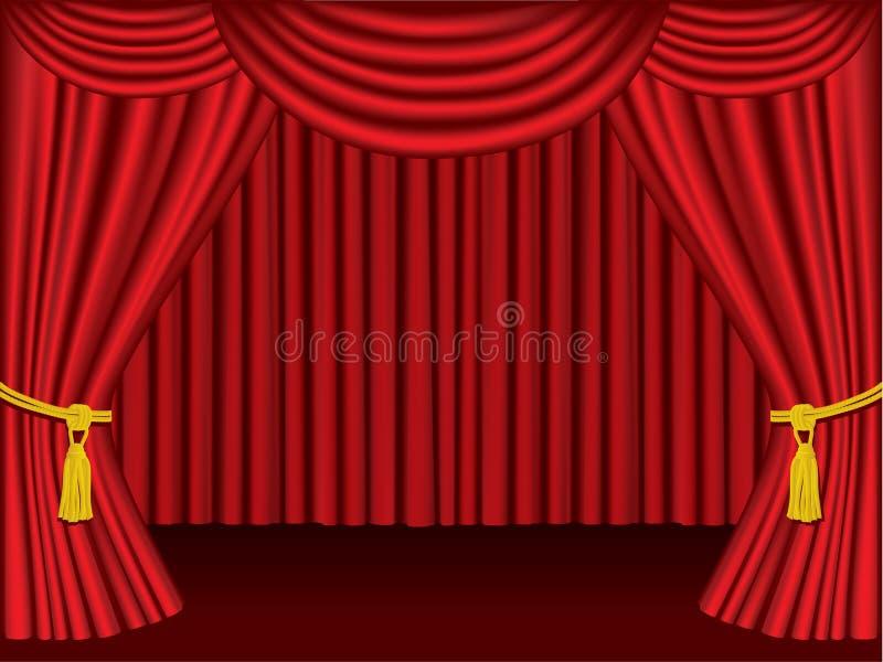 Cortinas Del Teatro. Agrupado Y Acodado Para El Ed Fácil