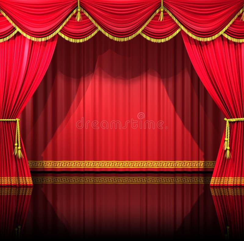 Cortinas del teatro con el contexto ilustración del vector