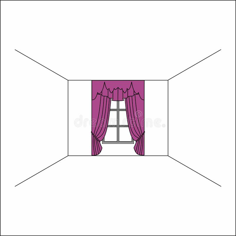 cortinas dentro de la ventana Cortinas y pañerías de seda de lujo del terciopelo ilustración del vector