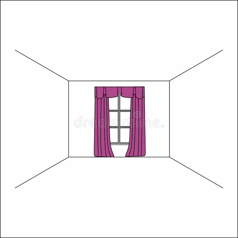 cortinas dentro de la ventana Cortinas y pañerías de seda de lujo del terciopelo libre illustration