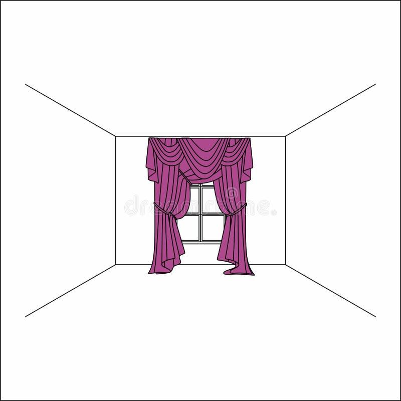 cortinas dentro de la ventana Cortinas y pañerías de seda de lujo del terciopelo stock de ilustración