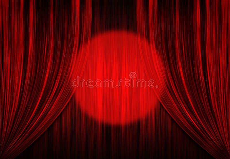 Cortinas do teatro com projector ilustração do vetor