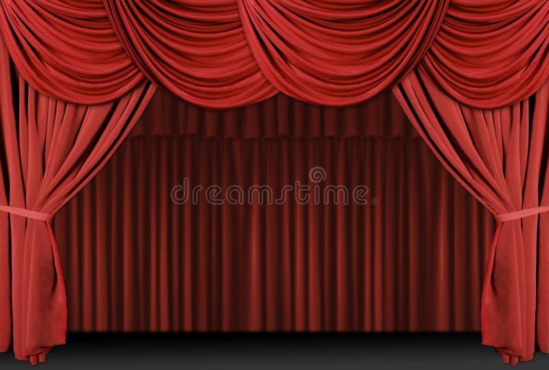 Cortinas drapejadas vermelhas do estágio ilustração stock