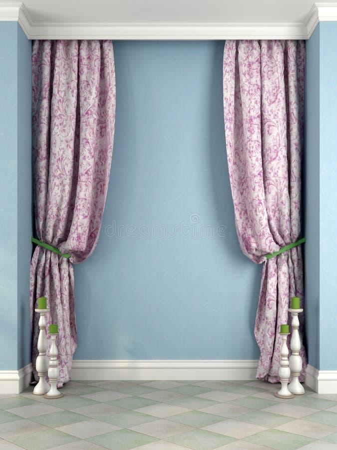 Cortinas e castiçal cor-de-rosa bonitos contra uma parede azul ilustração do vetor