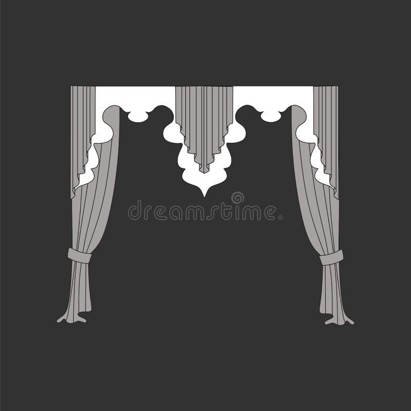 Cortinas, lambrequin da janela, decoração interior ilustração royalty free