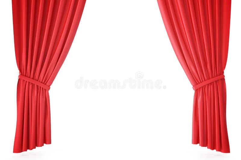 Cortinas rojas de la etapa del terciopelo, pañería del teatro del escarlata Cortinas clásicas de seda, cortina roja del teatro re stock de ilustración