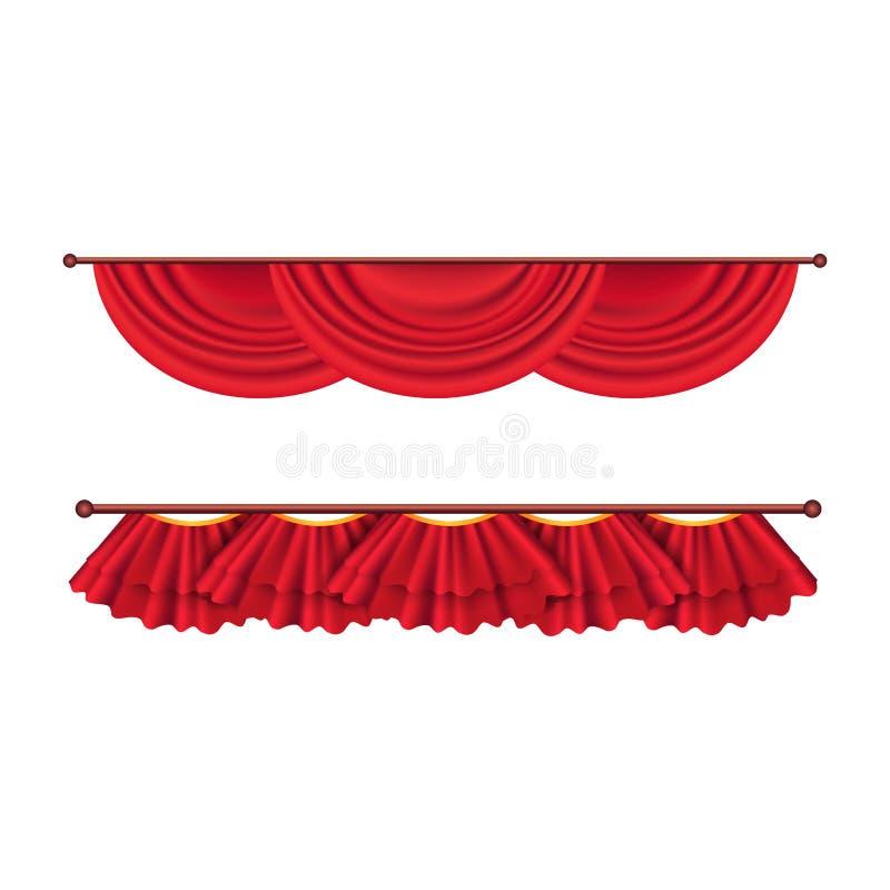 Cortinas rojas del techo corto fijadas Decoración del teatro ilustración del vector