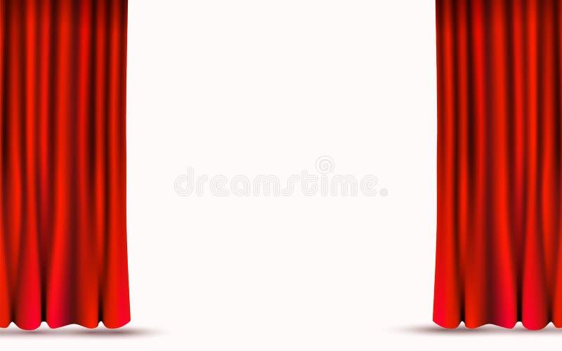 Cortinas rojas del terciopelo aisladas en el fondo blanco Concepto de la etapa de la demostraci?n libre illustration