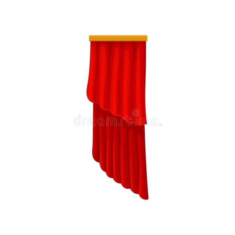Cortinas rojas del terciopelo para la etapa del teatro o del teatro de la ópera Pañería de teatro Elemento plano decorativo del v libre illustration