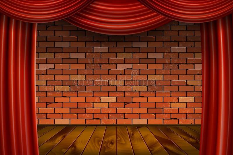 Cortinas rojas en fondo de la pared de ladrillo ilustración del vector