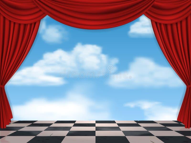 Cortinas vermelhas céu e tabuleiro de xadrez ilustração do vetor