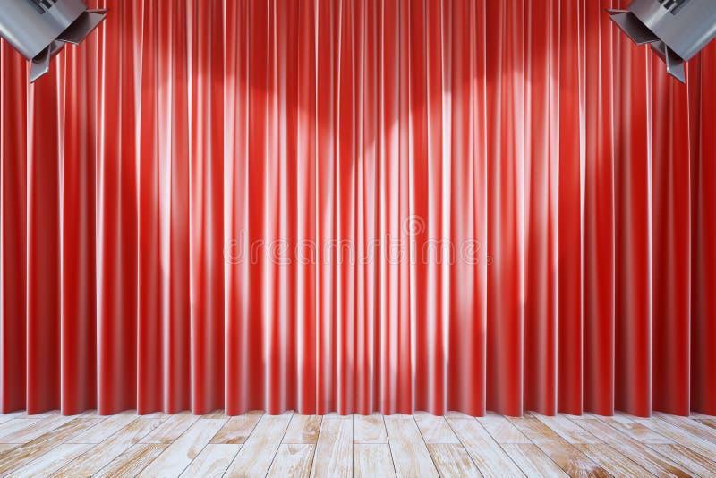Cortinas vermelhas com dois projetores ilustração stock