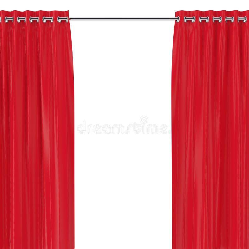 Cortinas vermelhas com os ilhós na borda redonda rendição 3d foto de stock