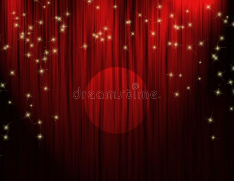 Cortinas vermelhas do teatro ilustração stock